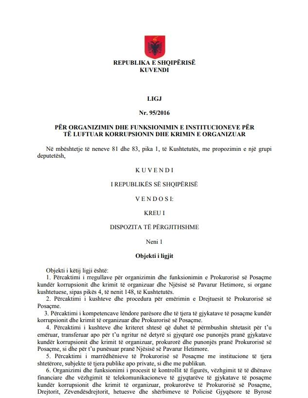 ligji nr 95/2016