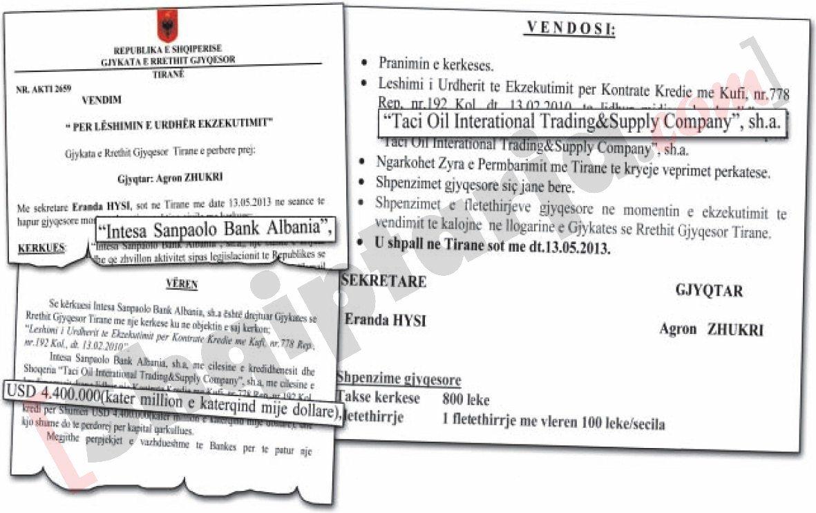 Faksimile der Gerichtshof auf das Konto von Taci Oil mit Logo blockieren
