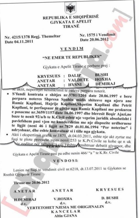 Faksimile e vendimit të gjykatë së Apelit që shpall të falsifikuar aktin e marrjes në pronësi të truallit nga Beqir Ajazi me logo 2